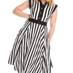 Hearts & Rose's black & white Striped Swing dress